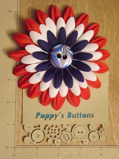 Patriotic Hand Marbled Button Flower Barrette/Pin by PoppysButtons on Etsy