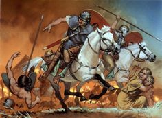 """Auxiliary cavalry raid on German village, c. 83 AD"", Angus McBride"