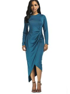 379ed89f147 Left Side Folds High Waist Asymmetrical Dress Women Stretch Bodycon Dress  Plus Size