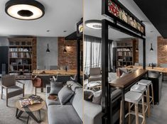 Have an exposed brick wall? Make the most of it by pairing it with wooden panelling and grey fixtures. These three inspirational interiors show you how. Interior Wall Colors, Interior Walls, Interior Design Living Room, Wooden Panelling, Futuristisches Design, Brick And Wood, Brick Walls, Loft Interiors, House Design Photos