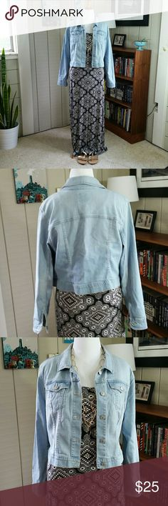 OLD NAVY jean jacket faded denim In excellent condition, has hardly been worn. Tribal maxi dress, gold sandals, and necklace also available in my closet! Make an offer! Old Navy Jackets & Coats Jean Jackets