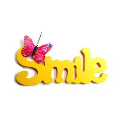 Smile-with-butterfly.jpg ❤ liked on Polyvore featuring text, quotes, words, phrase and saying