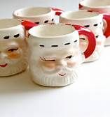 Santa can appear any where.  Some of our favorite Santa mugs.