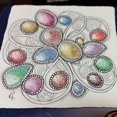 Tangling some Mooka with gems #zentangle #inktensepencils #art by christianne_gerstner