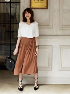 Image result for uniqlo bow skirt outfit