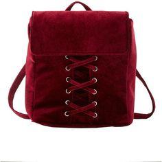 Charlotte Russe Velvet Lattice-Front Backpack (€20) ❤ liked on Polyvore featuring bags, backpacks, burgundy, red backpack, knapsack bag, burgundy backpack, day pack backpack and velvet bag