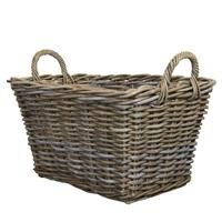 Kubu Rattan Tapered Log Basket, spacious with handy carry handles at either end