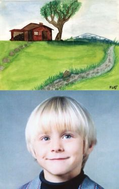 The painting is a landscape done by Kurt Cobain at age 10