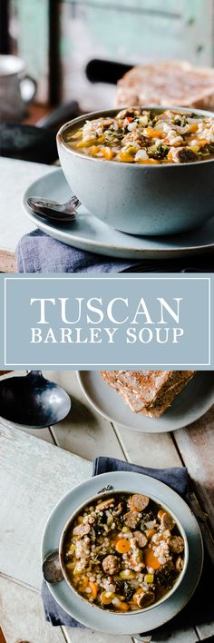 Tuscan Barley Soup - A hearty soup with turkey sausage, veggies, barley and… Best Soup Recipes, Favorite Recipes, Barley Recipes, Healthy Recipes, Sausage Recipes, Cooking Recipes, Barley Soup, Crock Pot Soup, Turkey Sausage
