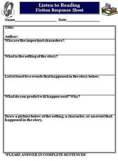 Here is a FREE Daily 5 Listen to Reading Fiction Worksheet that we use in our intermediate classroom.