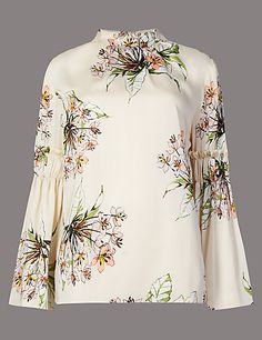 Floral Print Sculpted Sleeve Blouse | M&S