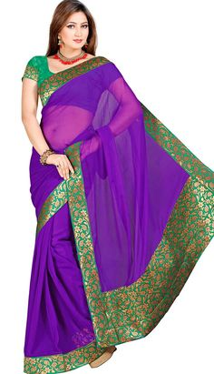 Get Beautiful purple faux chiffon #DesignerSaree at best price. Price: INR 1879 (Unstitch Suit), Color: Purple    You can customize your dress also. Buy now here: http://www.efello.co/Saree_Beautiful-Latest-Purple-Faux-Chiffon-Designer-Saree,-Sari_37829