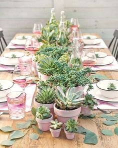 Tablescapes + Recipes for Mother's Day Brunch. Succulent centerpieces with pink accents Party Table Decorations, Decoration Table, Wedding Decorations, Green Decoration, Party Tables, Outdoor Decorations, Flower Decoration, Birthday Decorations, Birthday Brunch