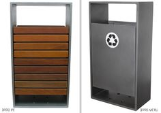 Metal, wood, concrete outdoor park trash receptacles and ashtrays