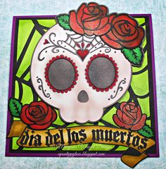 Up on tippy toes: eBrush Dia del los Muertos Card. Cut files from Designs On Cloud 9.