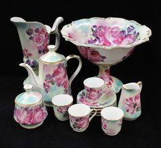 Limoges Porcelain (France) —   Miniature Tea Set  Bow.   Purple Pink Rose Pattern (1600x1467)