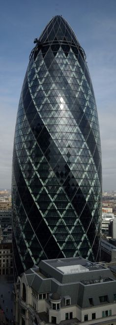 30 St Mary Axe,  The Gherkin, City of London, this is my favorite building. Since I am in Real Estate in Santa Barbara, CA.