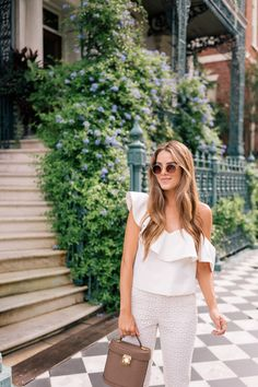 Gal Meets Glam Pearly White - Keepsake top, J.Crew pants, Tory Burch sandals, Rebecca Taylor sunglasses, J. Summer Outfits Women Over 30, Summer Fashion For Teens, Summer Work Outfits, Summer Fashion Outfits, Spring Summer Fashion, Spring Outfits, Pearl Sandals, Pearl Shoes, Southern Fashion