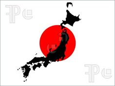 Japanese Flag w/ silhouette of country