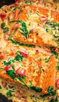 This Salmon in Roasted Pepper Sauce makes an absolutely scrumptious meal, worthy of a special occasion. Make this easy one-pan dinner in just 20 minutes! Recipes fish Salmon in Roasted Pepper Sauce Salmon Dishes, Fish Dishes, Seafood Dishes, Salmon Food, Keto Salmon, Salmon Meals, Seafood Meals, Veggie Dishes, Seafood Pasta