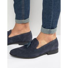 bb30f902ad3 ASOS Tassel Loafers in Navy Faux Suede ( 40) via Polyvore featuring men s  fashion