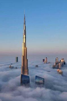 The Burj Khalifa in fog.