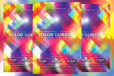 Color Dubstep Flyer Templates This flyer is perfect for promoting your next techno/electro/dubsteb musical night party.FEATURES by KiraYamato Binder Templates, Sign Templates, Event Flyer Templates, Bookmark Template, Journal Template, Print Fonts, Newsletter Design, Color Club, Corporate Flyer