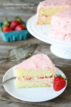Strawberry Lemonade Cake Recipe on twopeasandtheirpod.com. Love this light and refreshing cake! #recipe #cake
