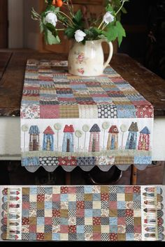 hatched and patched: Tiny Town Table Runner . . . Patchwork, Applique, Stitchery and jumbo Ric Rac to complete it