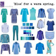 Blauw/ blauwtinten voor het warme lentetype.