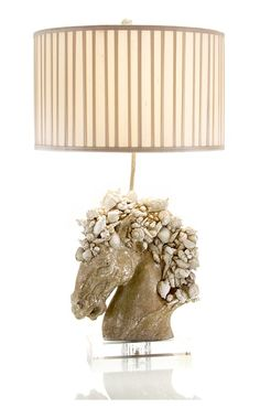 Table Lamps, Luxury Designer Shell Horse Lamp, so elegant, one of over 3,000 limited production interior design inspirations inc, furniture, lighting, mirrors, tabletop accents and gift ideas to enjoy repin and share at InStyle Decor Beverly Hills Hollywood Luxury Home Decor enjoy & happy pinning