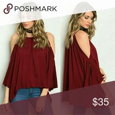 """🍷Wine cold shoulder top🍷 Wine colored raylon and spandex top.  These run a little large so order one size down.  Very,  very soft and comfortable fabric.  Would recommend an under garment such as a bandeau or tank because of the spaghetti straps and for under arms.  This is longer in the back and falls about at waistline in front. The material feels like a soft T-shirt on your skin.   Model is 5'1"""" 100 lbs wearing a small.  Runs big on her!!  Actually needed a XS Sip N' Sparkle Tops Tunics"""