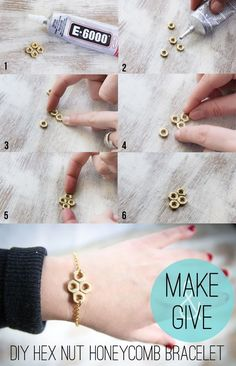 DIY Hex Nut Bracelet - add bee charm - reminds me of pushing daisies!