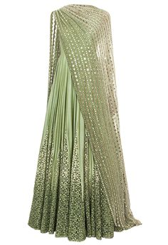 Mint ombre anarkali with mirror embroidered dupatta by Ridhima Bhasin