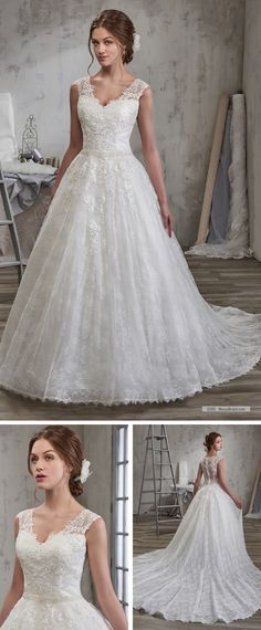 Mary's Bridal Style 6585 • All-over lace bridal ball gown with V-neck, cap sleeves, beaded natural waist line, sheer back, lace appliques, cathedral train, and back with zipper and buttons.