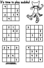 Printable Pete the Cat soduko puzzle  activity available at www.makinglearningfun.com.