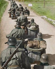 Motorcycle Units Of The Leibst is listed (or ranked) 18 on the list Colorized WWII Photos From The German Side German Soldiers Ww2, German Army, Military Photos, Military History, Luftwaffe, Operation Barbarossa, Germany Ww2, War Machine, Armed Forces