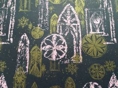 Vintage Christmas Gift Wrapping Paper - Pink, Gold and Black Stained Glass Church Windows - 1 Unused Full Sheet by Hallmark