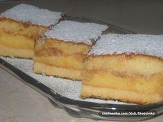 Odlican kolac,brzo se sprema a ukus je osvezavajuci. German Desserts, Sweet Desserts, Easy Desserts, Kolachy Cookies, Wine Recipes, Baking Recipes, Shortbread Recipes, Czech Recipes, Croatian Recipes