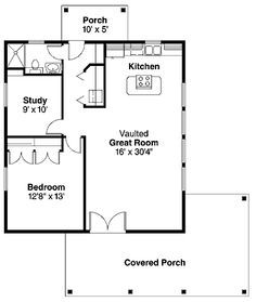 20'x20' apt. floor plan | Cottage floor plan -- love this 960 sq ft plan with all-on-one-floor ...