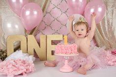 South Jersey Photographer: K Artocin Photography | 1st Birthday/Cake Smash, Pink and gold cake smash, girl