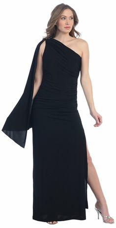 Chiffon Goddess Royal Blue Dress Side Slit Sleeves Side Leg Slit ...