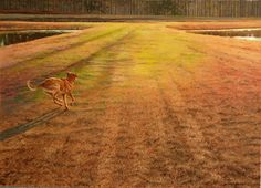 """""""Over the Rainbow Bridge"""" An oil - like the movie, the dog is going from a sepia foreground to a world of color."""