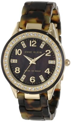 Anne Klein Women's 10/9956BMTO Swarovski Crystal Accented Gold-Tone Tortoise Resin Watch : Disclosure: Affiliate link