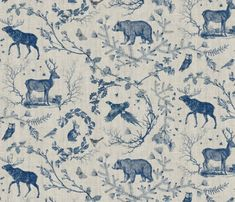 Buy Woodland Winter Toile (in Cranberry) custom fabric, wallpaper and home accessories by nouveau_bohemian on Spoonflower Toile Design, Tablecloth Fabric, Fabric Remnants, Fabric Wallpaper, Smoke Wallpaper, Navy Wallpaper, Tropical Wallpaper, Illustrations, Surface Design