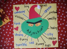 Lesson Plan Idea - ELA: How the Grinch Stole Christmas adjective brainstorm activity. Grinch Christmas Party, Grinch Party, Christmas Art, Christmas Projects, Christmas Themes, Holiday Fun, Holiday Crafts, Christmas Writing, Xmas