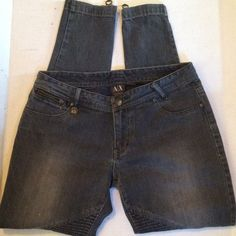 Armani Exchange distressed black moto jeans sz 6 Zippered at ankles skinny jeans. Soft 98% cotton 2% spandex. Armani Exchange Jeans Skinny