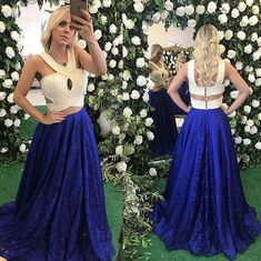 Elegant Prom Dresses, 2018 Sexy Two Pieces Prom Dress, A-line Royal Blue and Ivory Evening Dresses Formal Dress, Lace Long Party Dress Sweater Dresses UK Blue Lace Prom Dress, Royal Blue Prom Dresses, Elegant Bridesmaid Dresses, Formal Evening Dresses, Dress Lace, Dress Prom, Dress Wedding, Evening Gowns, Pageant Dresses For Teens
