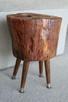 Tree stump side table with mid century legs by sumsouthernsunshine, $125.00