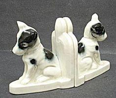 Art Deco Porcelain Bookends - Scottie  Dogs (Image1)